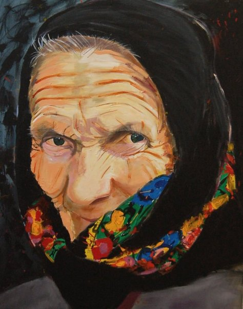 Painting of an old woman from Transylvania by Adela Tavares