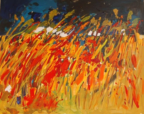 Painting of a field of wheat from Romania, by Adela Tavares