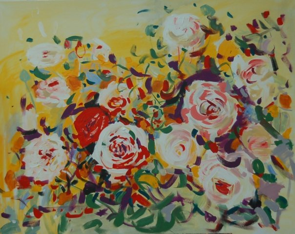 painting of Abraham Darby roses by Adela Tavares