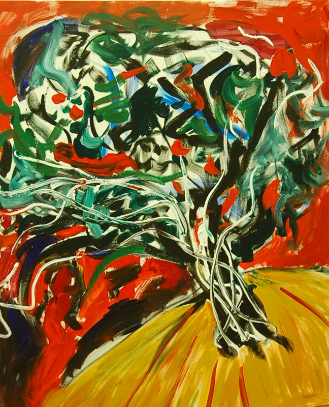 Torment, painting of a tree, acrylic on canvas by Adela Tavares